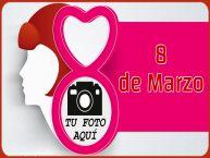 Personalizar tarjetas para el día de la mujer   8 de Marzo - Marco de foto de Feliz Día de la Mujer