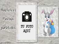 Personalizar tarjetas de Pascua | Muy Felices Pascuas para todos - Marco de foto