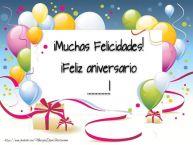 Personalizar tarjetas de aniversario | ¡Muchas Felicidades! ¡Feliz aniversario ...!